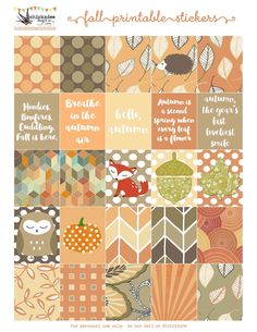 Adorable fall printable planner stickers at https://www.etsy.com/listing/249911404