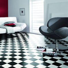 Plastgolv Gerflor SRA Acoustic Damier Black & White, Rullvara