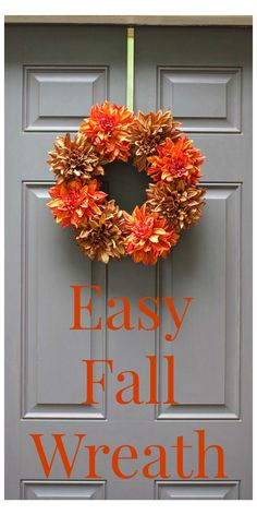 Easy Fall Wreath. Can be made in just 5 minutes. Super simple, colorful and cute! DIY, front door, decor. - 2 Bees in a Pod