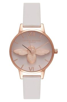 Wish list!!! http://m.shop.nordstrom.com/s/olivia-burton-molded-bee-leather-strap-watch-30mm/4470406?origin=keywordsearch-personalizedsort&fashioncolor=BLACK%2F%20BEE%2F%20ROSE%20GOLD