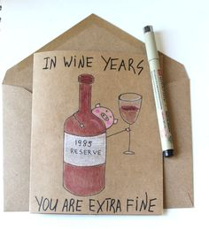 Funny wine birthday card for her - wine born 1989 card cute - Funny - Planejamento de Eventos Birthday Cards For Her, Bday Cards, 30th Birthday Gifts, Funny Birthday Cards, Birthday Diy, Birthday Quotes, Birthday Humorous, Birthday Beer, Grandpa Birthday