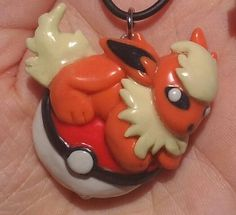 Flareon Pokemon Pendant by squidhop on Etsy, $30.00