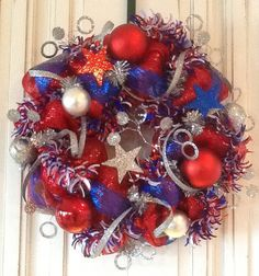 Red White and Blue Deco Mesh Patriotic Wreath by HertasWreaths, $120.00