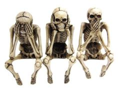 Skeletons, speak no evil, see no evil, hear no evil, need, skulls