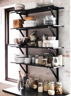 black open shelves