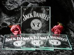 Set Of 4 Glass Coasters Engraved Jack Daniels by SJDesigns78
