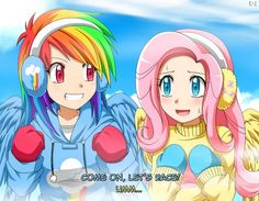 Rainbow Dash and Fluttershy off to race.