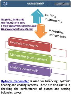Hydronic manometer is used for balancing Hydronic heating and cooling systems. These are also useful in checking the performance of pumps and setting balancing valves.