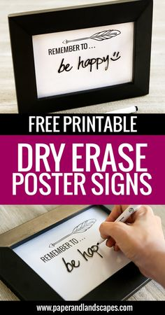 Free Printable Dry Erase Poster Signs - Get these free printable poster signs and have fun writing on them with dry erase markers! - Paper and Landscapes