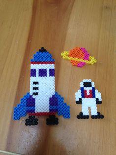 Perler beads rocket, astronaut and planet