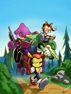 Team Chaotix (with an old member, Mighty)