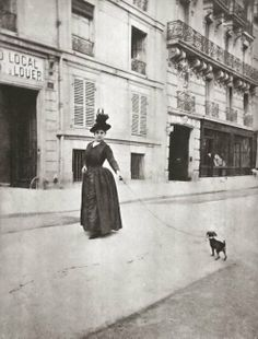 great capture...1890...woman walking dog