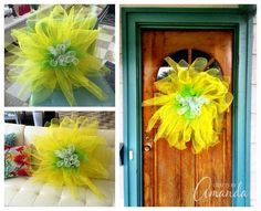 How to make beautiful Deco Mesh Flowers with Amanda Formaro of Crafts by Amanda Tulle Projects, Tulle Crafts, Deco Mesh Crafts, Burlap Crafts, Wreath Crafts, Deco Mesh Wreaths, Diy Wreath, Tulle Wreath, Yarn Wreaths