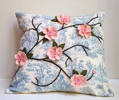 Items similar to Pink Cherry Blossom Pillow Cover Felt Appliqué on Blue Shabby Chic fabric on Etsy Sewing Pillows, Diy Pillows, Decorative Pillows, Throw Pillows, Blue Shabby Chic, Shabby Chic Fabric, Scatter Cushions, Pin Cushions, Pillow Crafts