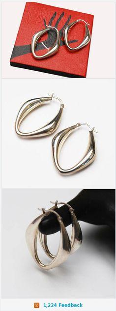 Large Sterling Hoop Earrings - hallow sliver hoops - Modernistic design - Signed CNA 925 Thailand - pierced earrings https://www.etsy.com/serendipitytreasure/listing/521613955/large-sterling-hoop-earrings-hallow?ref=listing_published_alert