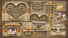 RUSTIC WOOD HEART COUNTRY STYLE WEDDING INVITATION with matching items: rustic RSVP, Reception cards, thank you stickers and cards with your wedding photo, sunflower address labels, stamps, wedding programs, save the date and wooden envelopes