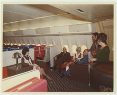 """vintage-airliners: """" American Airliners Luxury Liner DC-10-10, Weir-Cook Airport Indianapolis, Indiana. Below: American Airlines DC-10 Luxury Liner Coach lounge 1970's..."""