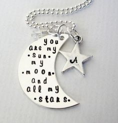 Personalized Mommy Necklace - Sterling Silver Moon - EE Cummings Quote - My Sun, My Moon, and All My Stars - Initial Jewerly