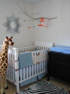 simple nursery - cute owl mobile & giraffe