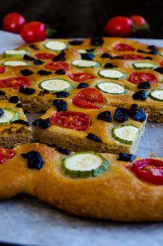 Zucchini and Tomato Focaccia Bread | giverecipe.com | #focaccia #bread #baking