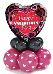 Balloon: Any Foil on a latex Balloon mini Stack - Balloon: Valentines Happy Valentines Balloon Stack/Decor - Mothers Day Balloons, Valentines Balloons, Valentines Games, Happy Valentines Day, Valentine Treats, Ballon Decorations, Balloon Centerpieces, Valentine Decorations, Balloon Ribbon