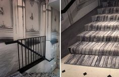 Martin Margiela Hotel  (wallpaper of architectural details and carpet runner with parquet graphic)