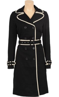 Vintage inspired summer trench coat black white - King Louie SS201