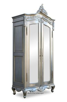 Emmanuelle Armoire French Wardrobe by Fab & Baroque at Gilt Silver Furniture, Mirrored Furniture, Baroque Furniture, Furniture Redo, Furniture Ideas, Silver Wardrobe, Mirrored Wardrobe, French Armoire, French Mirror