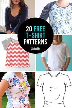 20 free t-shirt patterns in all sizes! Women, children, even one for men.