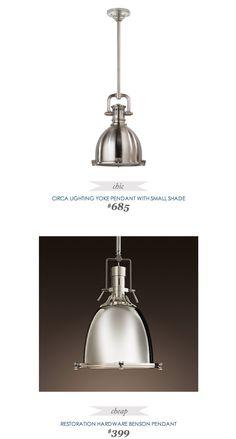 Copycatchicfinds Circalighting Yoke Pendant With Small Shade 685 Vs Restorationhardware