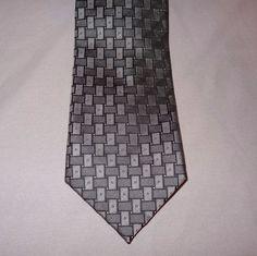 """Tie Necktie Basket weave Silver Black 58"""" All Silk  #Unbranded #Tie http://stores.ebay.com/ktefashionandcollectibles"""