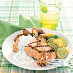 5-Ingredient Grilled Fish Recipes | Grilled Salmon with Yogurt-Mint Sauce | MyRecipes.com