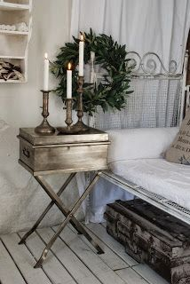 the bed and side table