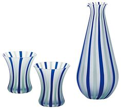 Tsugaru Vidro Sake Set Blue (Flask dia85 x H180mm, Cup dia70 x H70mm) - Beautiful colored Sake Set Glass Tsugaru Vidro - DOMO ARIGATO JAPAN