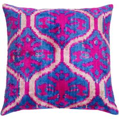 Marmara Reversible Decorative Pillow Cover ($120) ❤ liked on Polyvore featuring home, home decor, throw pillows, ikat throw pillows, pink toss pillows, blue toss pillows, pink home decor and blue accent pillows