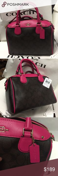 Coach Purse 100% Authentic Coach Purse, brand new with tag!.color Ruby Pink. Coach Bags Crossbody Bags