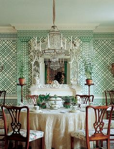 Treillage trellis fretwork lattice classic interior design history examples traditional timeless elsie de wolfe amy berry danielle rollins accents of france Architectural Digest, Elsie De Wolfe, Trellis Wallpaper, Of Wallpaper, Hello Wallpaper, Beautiful Wallpaper, Sweet Home, Green Rooms, Green Walls