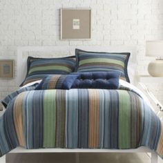<p>Earn style points with this ultra hip bedding Alternating cool and warm colored stripes accessorize easily with any solid color sheet set</p>