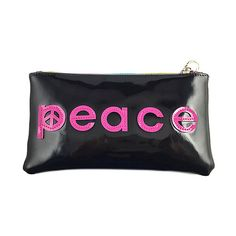 Whim Black & Pink 'Peace' Cosmetic Pouch ($6.99) ❤ liked on Polyvore featuring beauty products, beauty accessories and bags & cases