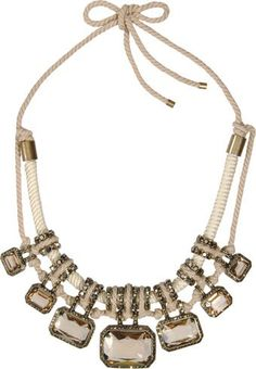 Lanvin rope and chrystal necklace Jewelry Shop, Jewelry Accessories, Fashion Accessories, Fashion Jewelry, Women Jewelry, Lanvin, Ringa Linga, Shades Of Beige, Or Antique