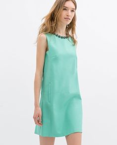 Zara Spring Summer 2014 Dress with Embellished Jeweled Neckline Mint Sea Green | Size: S | $70 on eBay