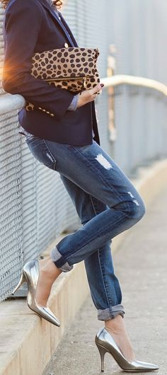 Chic Navy Blazer with Love Jeans and Lepord Clutch...