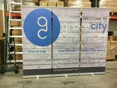 """Place three 33"""" retractable Banners side-by-side to create a 10 foot backdrop. Grace City Church - Eugene OR"""