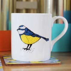 Blue Tit Mug bird mug tea mug coffee mug by marthaandhepsie