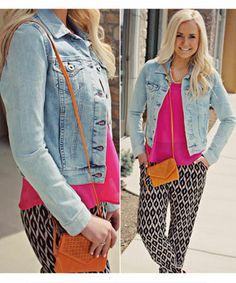 AMARA | Boutique, Casual outfit, hot pink shirt, spring fashion, hobo bag, jean jacket