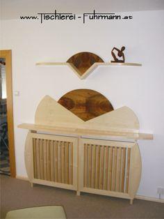 Heizkörperverbau in Ahorn kombiniert mit Nuss Rustic Furniture, Carpentry, Homes