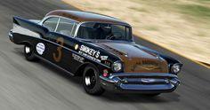 Smokey's 57 Chevrolet on the Daytona Beach course