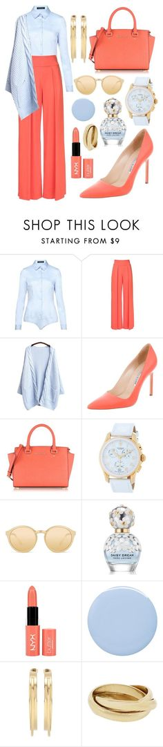 """""""With style..."""" by sanela-enter ❤ liked on Polyvore featuring Hallhuber, Nicole Miller, Manolo Blahnik, Michael Kors, Victorinox Swiss Army, Linda Farrow, Marc Jacobs, NYX, Deborah Lippmann and By Malene Birger"""