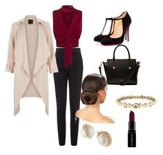 """""""red at work!"""" by mikai-toot on Polyvore featuring Vielma London, Columbia, Christian Louboutin, Ted Baker, Kate Spade, Chanel, Smashbox, women's clothing, women and female"""