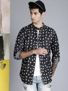 Kook N Keech #Disney #Men #Charcoal #Grey #RegularFit #Printed #Casual #Shirt